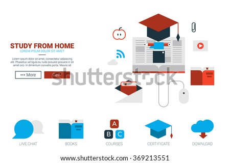 Online education concept flat design for website template or magazine illustration print - stock vector