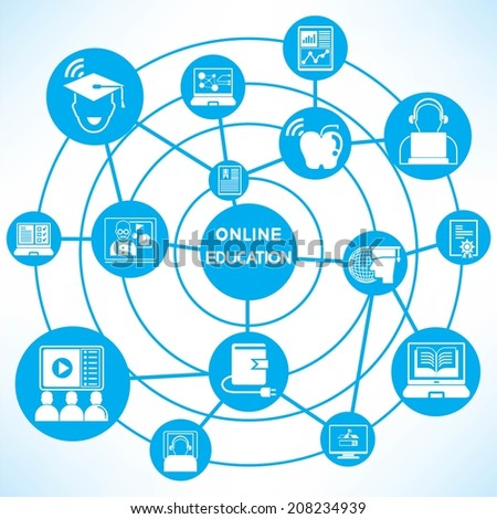 online education concept info graphic network with blue theme - stock vector