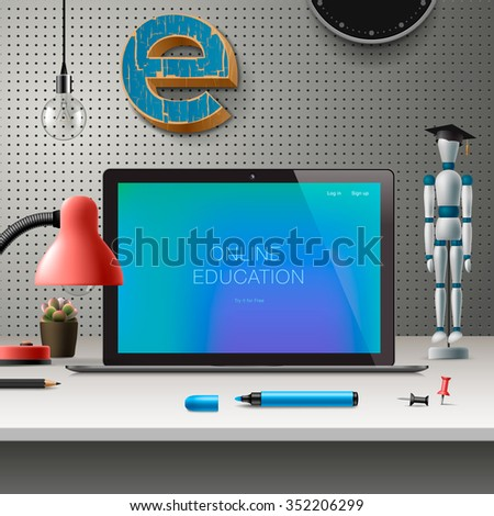 Online education concept, workspace with computer, lamp and office supplies, grey wall background, vector illustration. - stock vector