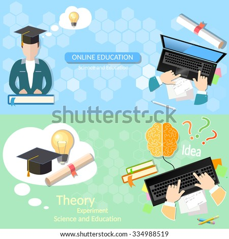 Online education distance tutorials student studying lecturer lessons university college diploma laptop vector banners - stock vector