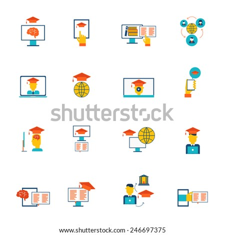 Online education e-learning distance training and graduation icons flat set isolated vector illustration - stock vector