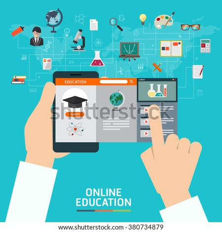 Online education e-learning science concept with application mobile and studying icons vector illustration - stock vector