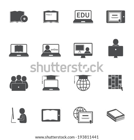 Online education e-learning silhouette video tutorial training icons set vector illustration - stock vector