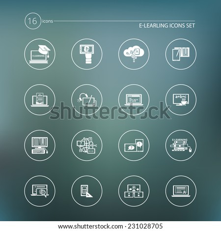 Online education e-learning student seminar graduation white icons set vector illustration - stock vector