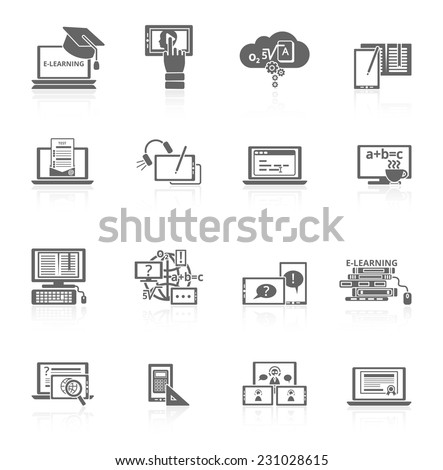 Online education e-learning video tutorial training black icons set vector illustration - stock vector