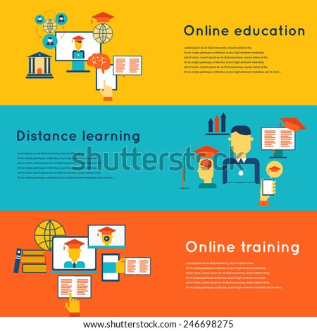 Online education flat horizontal banners set with distance learning and training elements isolated vector illustration - stock vector