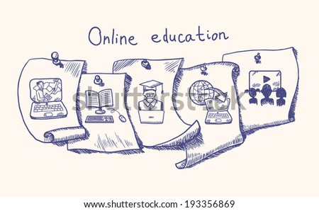 Online education hand drawn sketch paper sticker set isolated vector illustration - stock vector
