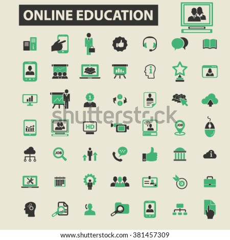 online education icons, online education logo, online education vector, online education flat illustration concept, online education infographics, online education symbols,   - stock vector