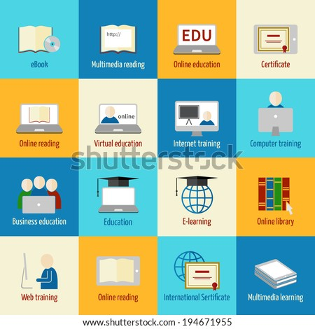 Online education icons set of ebook multimedia reading certificate internet training isolated vector illustration - stock vector