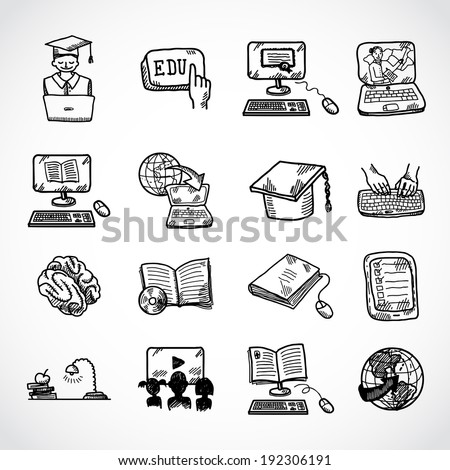 Online education learning knowledge and experience icons sketch set isolated vector illustration - stock vector