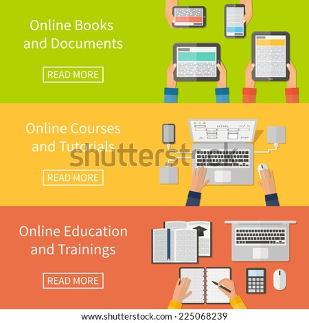 Online education, online training courses and online tutorials, e-books. Digital devices, laptop. Flat design banners. - stock vector