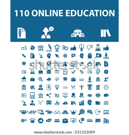 online education, science, school, learning, lesson, study icons - stock vector