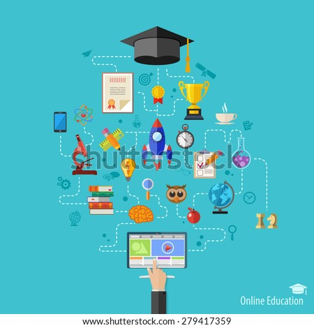 Online Education Vector Concept with Flat Icon Set for Flyer, Poster, Web Site Like mortarboard, books, hand and computer - stock vector