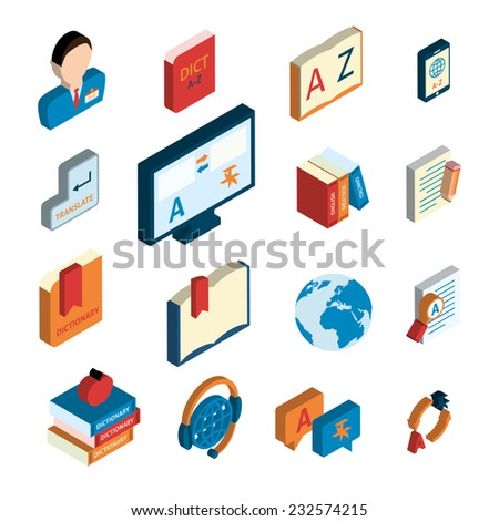Online english german translation service website applications flat isometric icons set with interpreter headset isolated vector illustration - stock vector