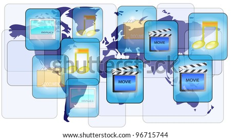 Online file sharing with world map - stock vector