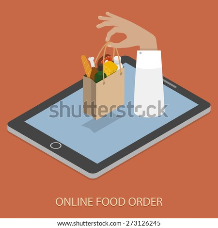 Online Food Ordering Concept Flat Isometric Vector Illustration of Hand With Bag of Foods Appeared From Smartphone or Tablet. - stock vector