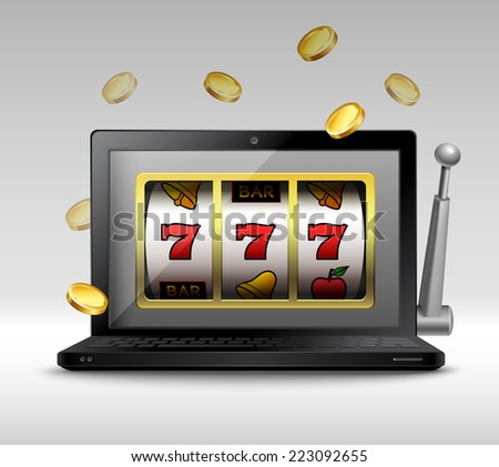 Online gambling concept with laptop and slot machine handle and coins vector illustration - stock vector