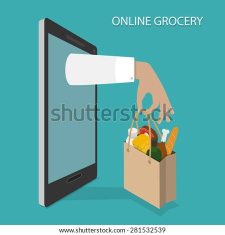 Online Grocery Ordering, Delivery Concept Flat Isometric Vector Illustration of Hand With Bag of Foods Appeared From Smartphone or Tablet. - stock vector