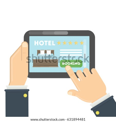 Booking hotel stock images royalty free images vectors for Tablet hotel booking