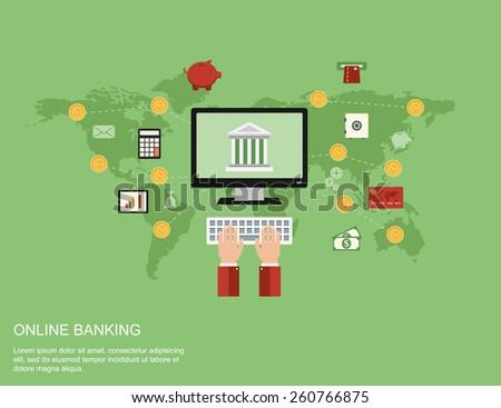 online internet banking. modern business flat design concept - stock vector
