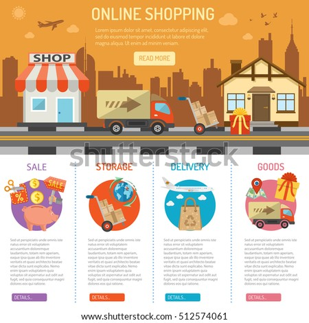 Online internet shopping concept with flat Icons Set for e-commerce marketing and advertising with shop, delivery, sale, storage and house vector illustration