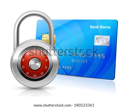Online internet shopping payments by credit card with chip security concept isolated vector illustration - stock vector