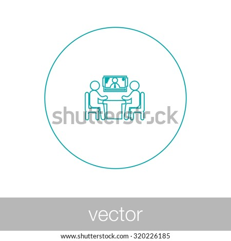 online interview - video conference - online meeting - two human figures sitting around the table talking, with a human figure in the screen at the background - stock vector