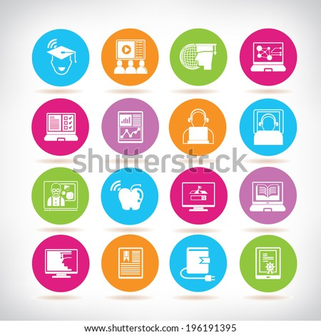 online learning icons, online education color buttons set - stock vector