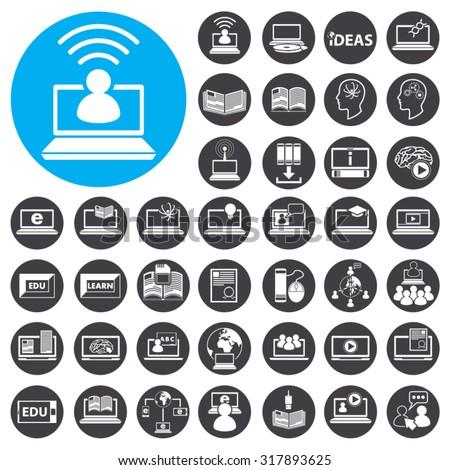 Online Learning icons set. Illustration EPS10 - stock vector