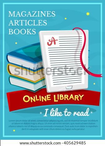 Online library concept design, E-book poster, vector illustration - stock vector