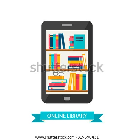 Online library in mobile phone or tablet, vector illustration.  - stock vector
