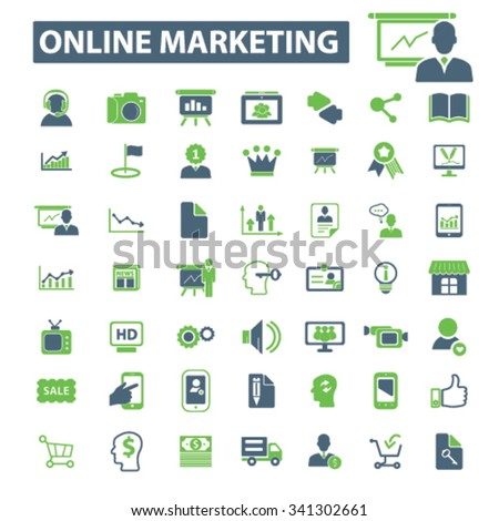 online marketing, digital advertising, video, image, brainstorm  icons, signs vector concept set for infographics, mobile, website, application  - stock vector