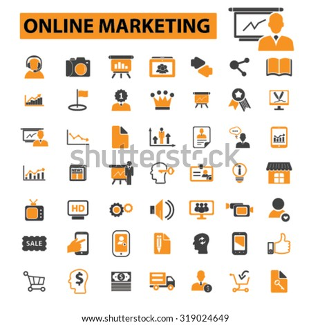 online marketing, internet marketing icons - stock vector