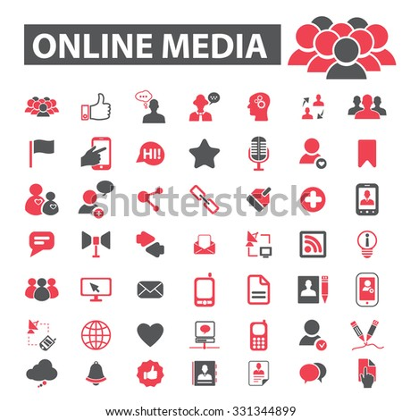 online media, community, social media icons - stock vector