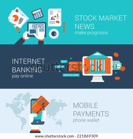 Online mobile business concept flat icons banners template set stock market news internet banking payments checkout vector web illustration website click infographics elements - stock vector