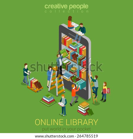 Online mobile library creative modern 3d flat design web isometric concept. Library shelf in smart phone tablet micro people on ladders reading put take off books. World knowledge in pocket.  - stock vector