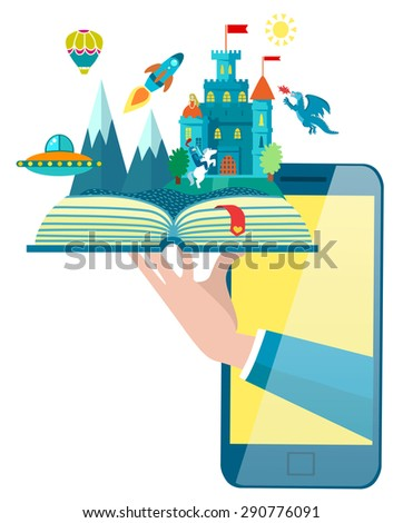 Online mobile library creative modern design web isometric concept. Imagination concept - open book with rocket, castle, dragon, air balloon World knowledge in pocket. Vector flat illustrations. - stock vector