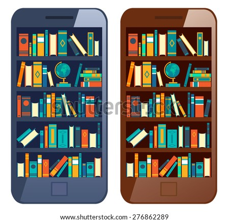 Online mobile library creative modern design web isometric concept. Library shelf in smart phone tablet. World knowledge in pocket. Vector flat illustrations. - stock vector