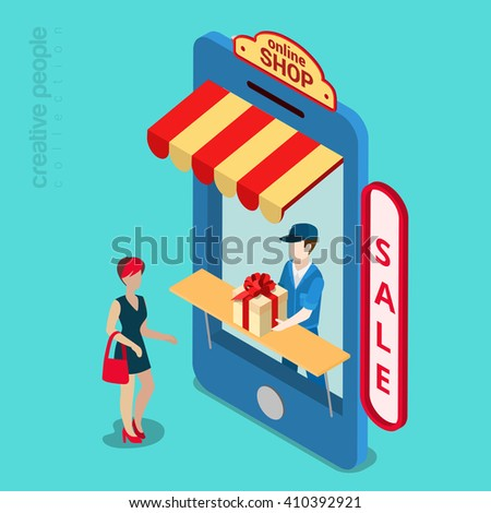 Online mobile shop store sale delivery shopping concept. Showcase in smartphone screen. 3d isometric style vector illustration. - stock vector