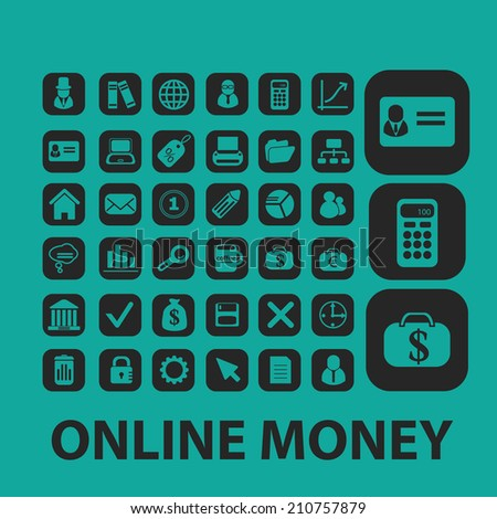 online money isolated icons, signs, symbols, illustrations set, vector - stock vector