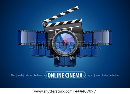 Online movie theater cinema art concept creative icon design with clapper, cinematography film tape and glass lens vector illustration