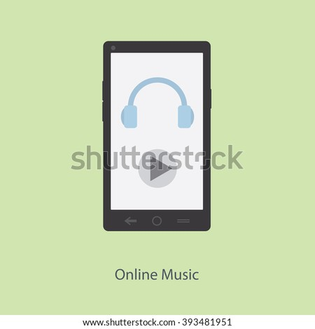Online music. Image of headphones and play buttons on your smartphone.