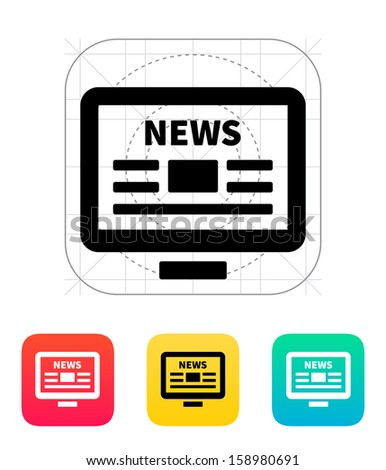 Online news. Desktop PC newspaper icon. Vector illustration. - stock vector