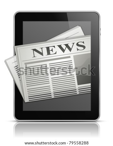 Online news. Tablet PC and newspaper icon. Vector illustration