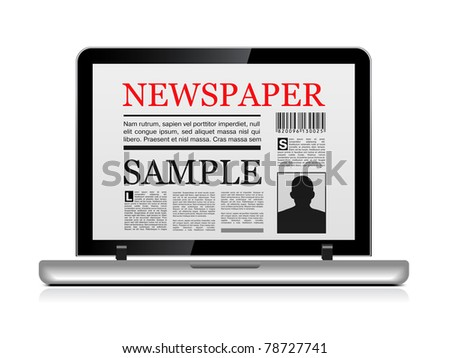 Online newspaper. Laptop and news website on white - stock vector