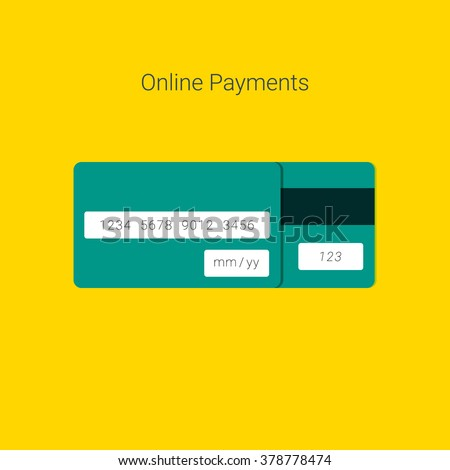 Online Payment Form Template With Vector Credit Card. Material Design  Payment Form Template
