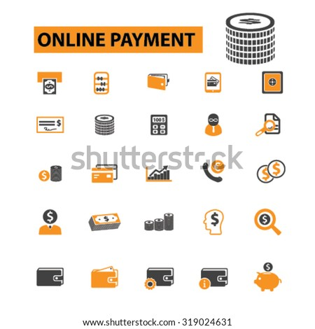 online payment icons - stock vector
