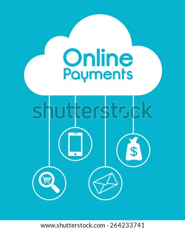 Online payments design over blue background, vector illustration. - stock vector