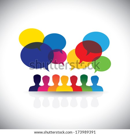 online people icons in social network & media - vector graphic. This graphic also represents social media communication, internet or web chat, social networking & interaction, online community, forums - stock vector