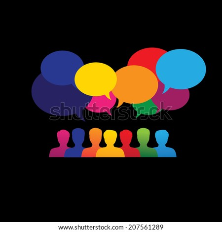 online people icons in social network & media - vector graphic. This graphic also represents social media communication, internet or web chat, social networking & interaction, online community, forums